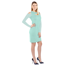 Cold Shoulder Dress Long Sleeve Above the Knee Length Sea Foam Green XS ... - $42.99