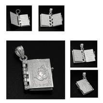 Sterling Silver Our Lords Prayer 3D Embossed Prayer Pages Bible Pendant - $23.16