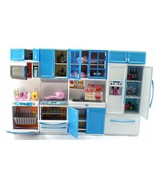 Blue Deluxe Modern Barbie Size Kitchen Stove Fridge Micro Wave Etc - $24.99