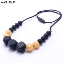 Food Grade Teething Silicone Bead Necklaces Soft Chewable Necklace Long ... - $12.18