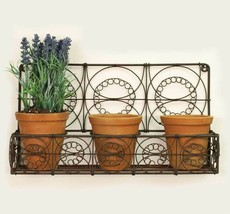 Unique Metal Planter Set With 3 Terra Cotta Pots 1 Wall Decorative Plant... - $68.59
