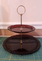 Imperial For Avon Cape Cod 1876 Collection Ruby Red Glass Two Tier Tidbi... - $29.95