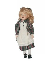 Little Girl Doll Porcelain Stuffed Blond Hair with Ribbon Green Floral D... - $14.84