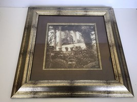 Vintage Kirkland's Framed Wall Art  Black/White Garden Scene            ... - $19.34