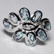Natural Oval Blue Topaz Bezel Set Band Ring Women December Birthstone 92... - $59.00