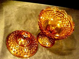 Amber glass diamond point footed compote-candy dish AA19-1601 Vintage image 4