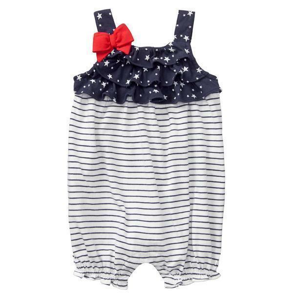 NWT Gymboree Americana Stars & Stripes Baby Girls Sleeveless Ruffle Romper  - $12.99