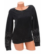 Lucky Brand Jeans Lace-Inset-Sleeve Sweat Shirt Lucky Black XS NWT - $29.35