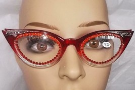 READING GLASSES DELIGHTFUL CAT EYE STYLE IN RED 2.00 FREE POUCH & US SHI... - $24.75