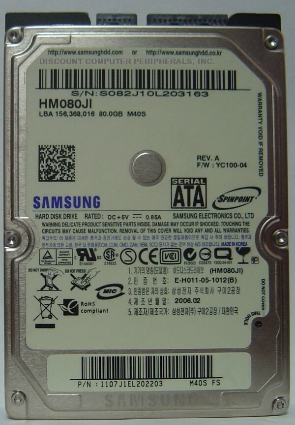 Samsung HM080JI 80GB 2.5in SATA Drive Tested Good Free USA Shipping