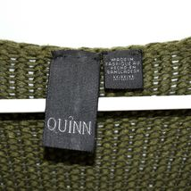 Quinn Francesca's Women's Army Green Fringe Trim Trapeze Pullover Sweater Size M image 3