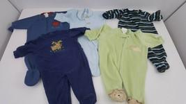 5 Piece Bundle Size 0-3 Months Baby Fleece Footie Pajamas Clothes Lot Bl... - $24.18