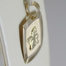 18K YELLOW GOLD SQUARE PENDANT MEDAL CUSTODIAN ANGEL ENGRAVABLE, MADE IN ITALY image 2