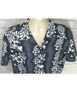 Mens XL High Seas Resort Wear Blue White FLORAL Hawaiian Shirt Polyester - $19.95