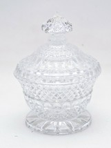 Crystal Glass Footed Lidded Candy Dish Etched Trinket Box - $14.36