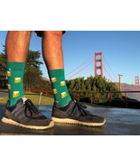 Green socks with funny colorful emoji - $8.40