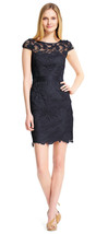Adrianna Papell New Womens Midnight Blue Cap Sleeve Lace Cocktail Dress   4 - $117.81