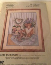 "Printed Counted Cross Stitch Kit Something Special Teddy and Flowers 14""x18"" NIP - $16.83"