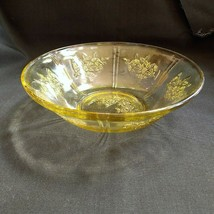 """Federal Sharon Cabbage Rose Round Berry Bowl 8.5"""" Amber Yellow Depression Glass - $9.49"""