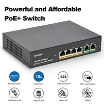 MokerLink 4 Port PoE Switch with 2 Uplink Ethernet Port, 78W High Power, Support image 2