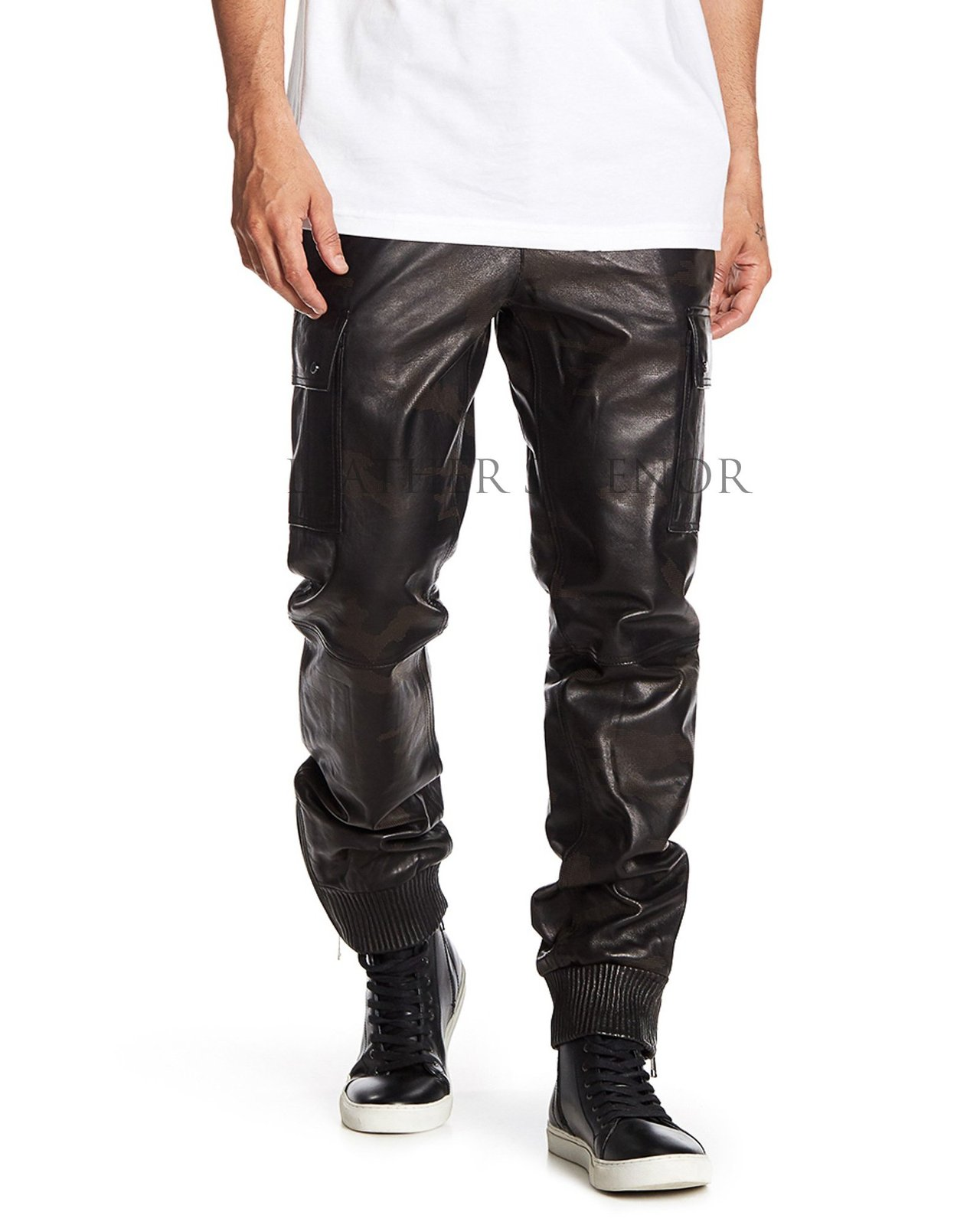 ELASTIC CUFFS STYLISH MEN LEATHER PANTS