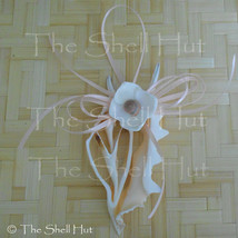 Seashell Christmas Ornament Real Center Sliced Shell with Seashell Flowe... - $11.99