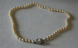 1940s Vintage Glass Imitation Pearl Knotted Necklace with Rhinestone Clasp - $20.90