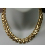 Vintage Signed Monet Gold-tone Textured Panel Link Chain Choker Necklace  - $54.45