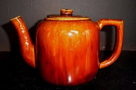 Antique Teapot Brown Glaze Molasses Glazed Teapot Impressed with S MINT - $19.94