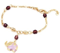18k Gold Plated Gold And Crystal Elephant Enamel Charm Bracelet (Lavender) - $32.68
