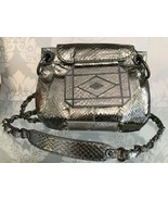 RAFE NEW YORK Shiny Metallic Silver Python Covered Cross Body Evening Ba... - $158.30