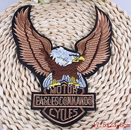 Motorcycles Eagle Commander Embroidered Patch Iron On Patch Bike Rider Large Siz
