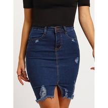 Ripped Split Denim Skirt - $56.00