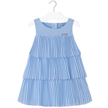 Mayoral Little Girls 2T-9 Light-Blue Pleated Triple Tier Social Dress