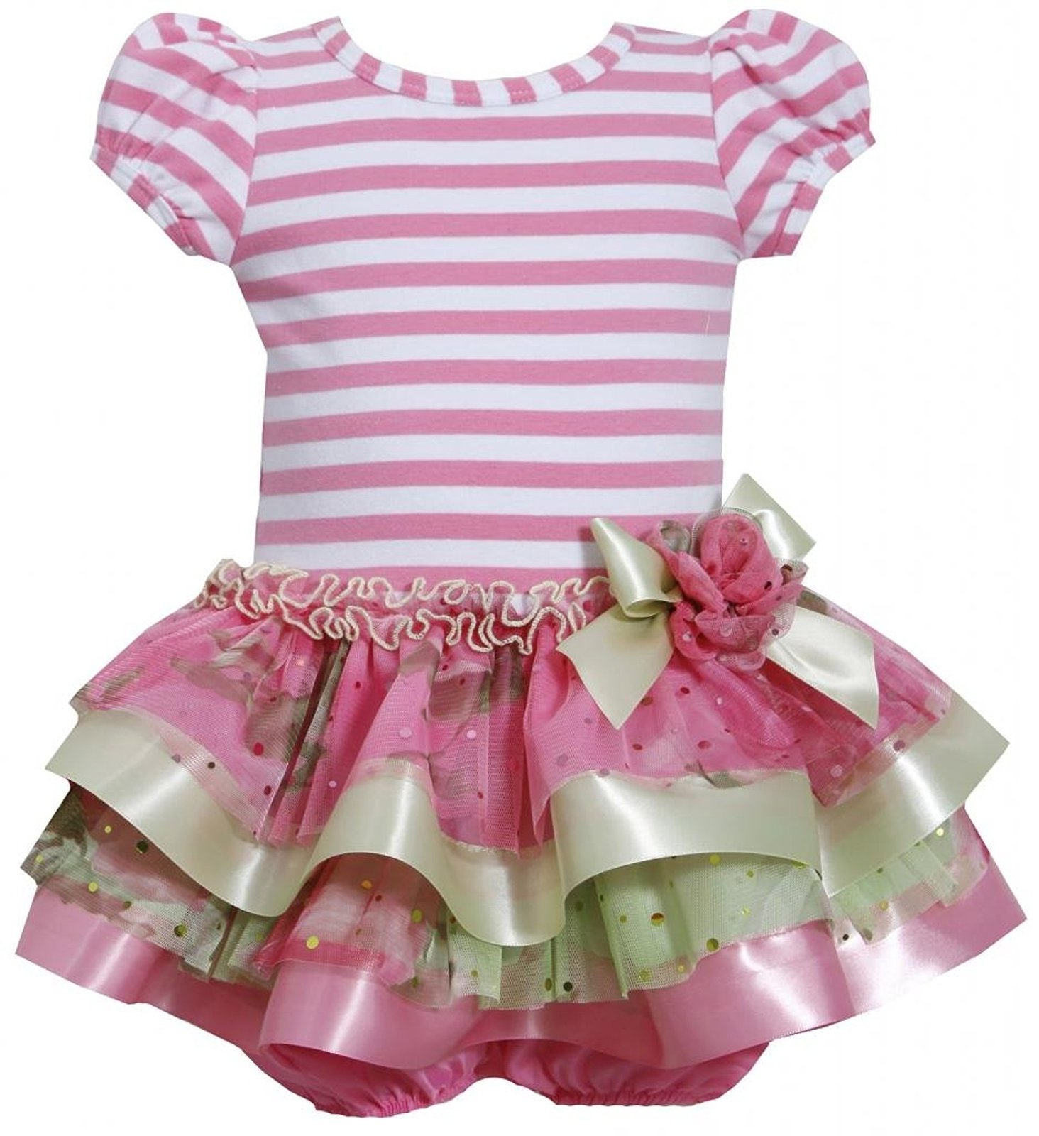Bonnie Baby Baby Girl 3M-9M Pink Stripe Knit To Tier Mix Media Sparkle Dress