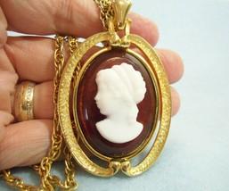 Vintage B.J. Big Cameo Pendant Necklace Rope Chain Faux Tortoise Gold Pl... - $24.26