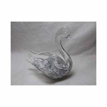 Vtg Art Glass SWAN FIGURINE GRANNA GLAS SWEDEN glashytta Marked foil sti... - $24.98