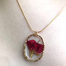 Handmade Dried Rose Gold Trim Resin Pendant Necklace Red Pink Flower - $30.00