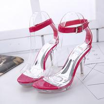 ps326 elegant crystal ankle sandals, slim heels, US Size 2-9, red - $58.80