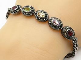 925 Silver - Vintage Garnet Amethyst Peridot & Citrine Chain Bracelet - ... - $52.27