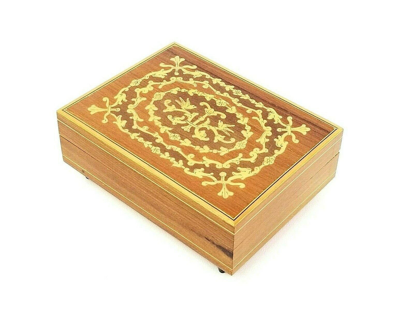 Vintage Reuge Swiss Movement Music Box Torna A Surriento Wood Inlay Jewelry Box