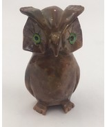 "Vintage Owl Marble Stone Miniature 2 1/2"" Green Eyes - $6.76"
