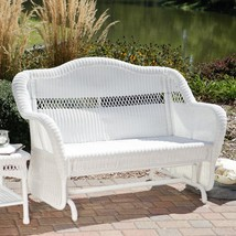 South Bay Traditional White Wicker Patio Glider Loveseat Sofa Outdoor Fu... - $395.95