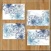 Navy Blue Gray Flower Bloom Floret Burst Wall Art Picture Prints Bathroo... - $14.95