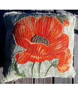"""Imperial Collection Orange Flower 3D Throw Pillow India Green 19"""" Square... - $19.79"""