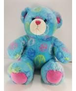"Build A Bear Blue Bear 14"" White Friendship Peace Emblems Pink Yellow So... - $11.57"