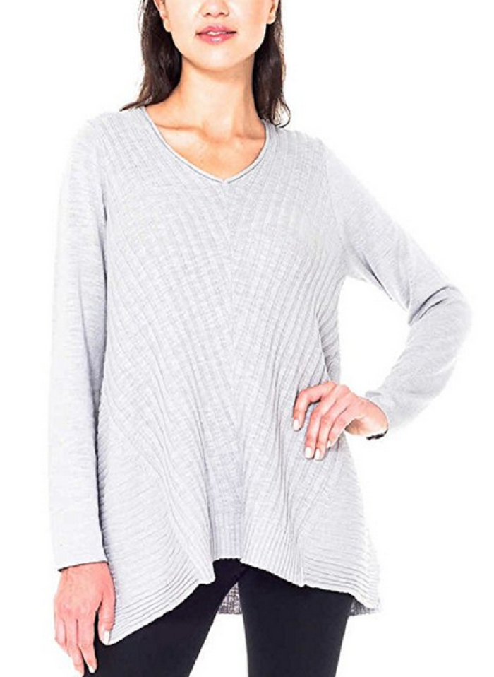 Beatrix Ost Ladies' V Neck Sweater ,Gray, Size XXL