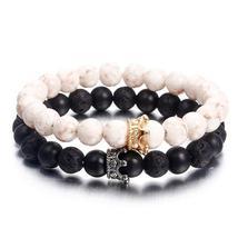 7 Chakra Bracelet Real Healing Rose Gold Chakra Stone Howlite Bracelet - $15.80+