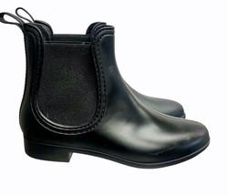 Jeffrey Campbell Rubber Chelsea Rain Boots Ankle Boots Black Waterproof Size 9 - $41.39