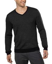 Calvin Klein Men's Merino Wool V-Neck Sweater, Black Combo, Size L - $22.43